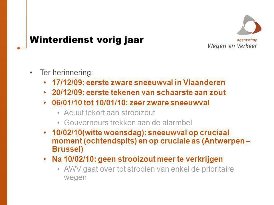 Winterdienst vorig jaar Ter herinnering: 17/12/09: eerste zware sneeuwval in Vlaanderen 20/12/09: eerste tekenen van schaarste aan zout 06/01/10 tot 1