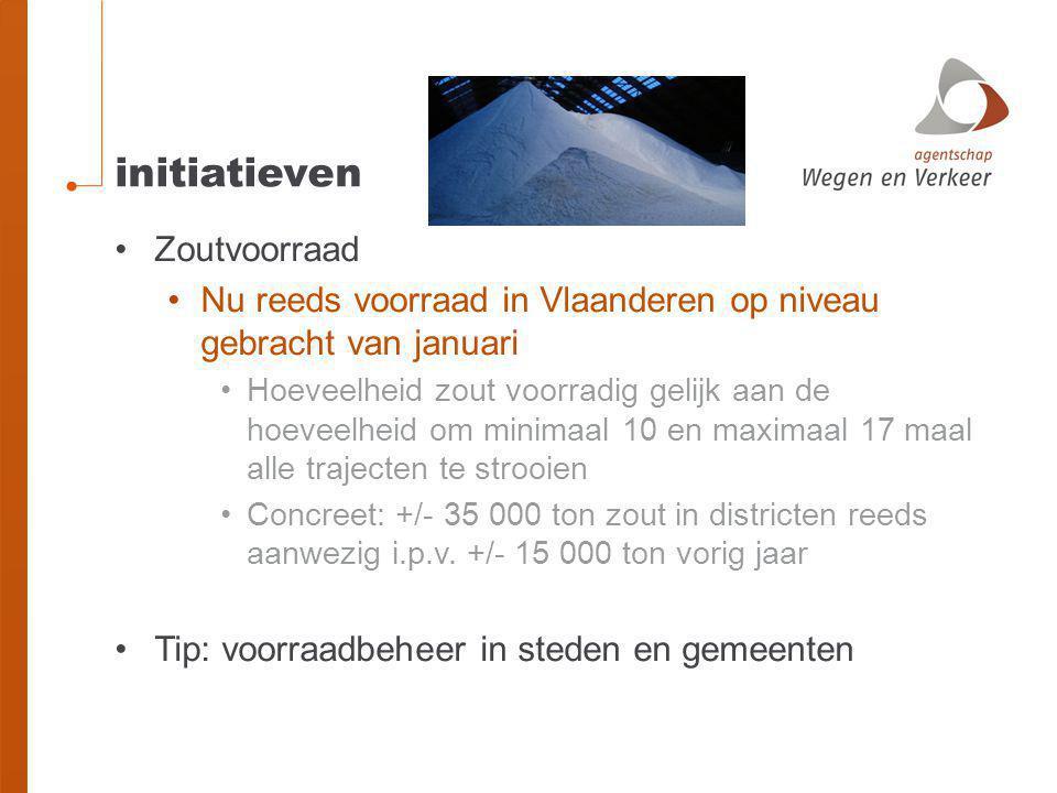initiatieven Zoutvoorraad Nu reeds voorraad in Vlaanderen op niveau gebracht van januari Hoeveelheid zout voorradig gelijk aan de hoeveelheid om minim