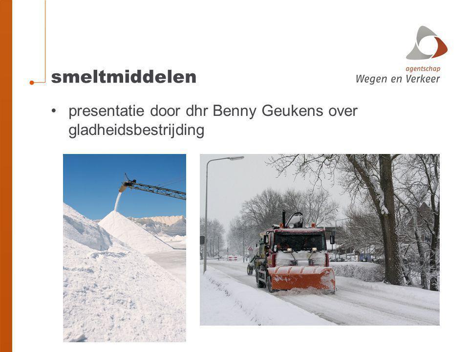 smeltmiddelen presentatie door dhr Benny Geukens over gladheidsbestrijding
