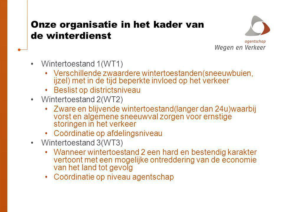 Onze organisatie in het kader van de winterdienst Wintertoestand 1(WT1) Verschillende zwaardere wintertoestanden(sneeuwbuien, ijzel) met in de tijd be