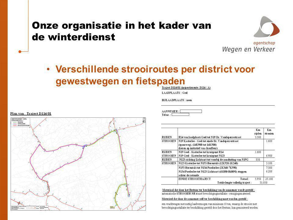 Onze organisatie in het kader van de winterdienst aannemers Externe aannemers die met AWV een contract afsluiten en die hun vrachtwagen met chauffeur ter beschikking stellen Totaal: 295 Antwerpen 46 Vl Br 43 W-Vl 72 O-Vl 80 Limburg 54