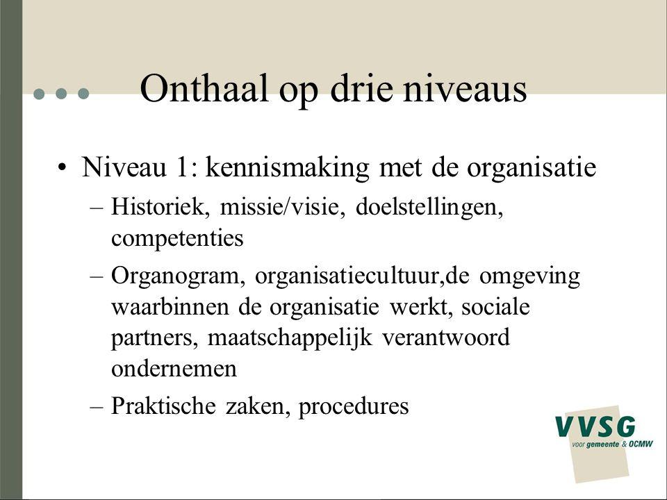 Onthaal op drie niveaus Niveau 1: kennismaking met de organisatie –Historiek, missie/visie, doelstellingen, competenties –Organogram, organisatiecultu