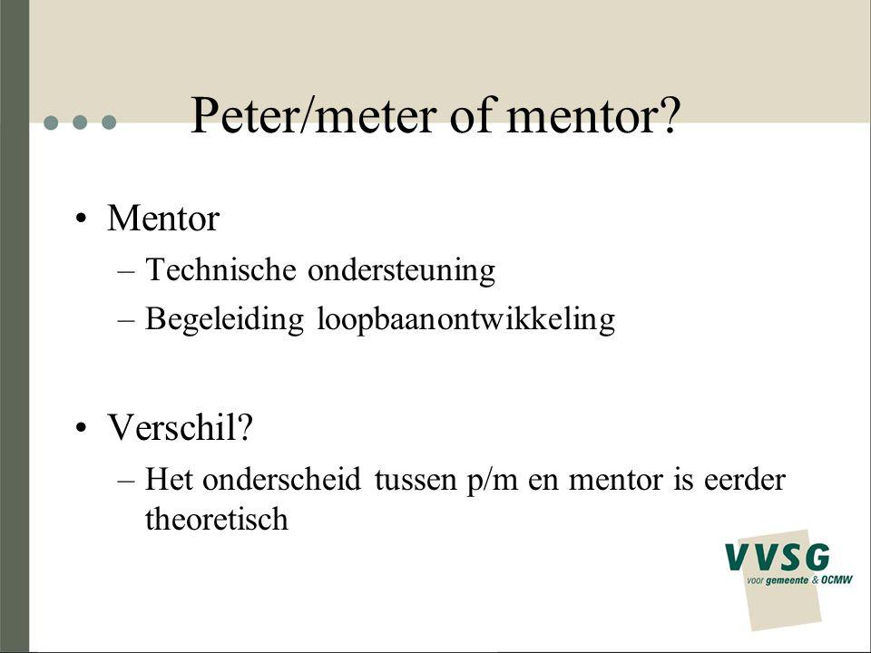 Peter/meter of mentor? Mentor –Technische ondersteuning –Begeleiding loopbaanontwikkeling Verschil? –Het onderscheid tussen p/m en mentor is eerder th