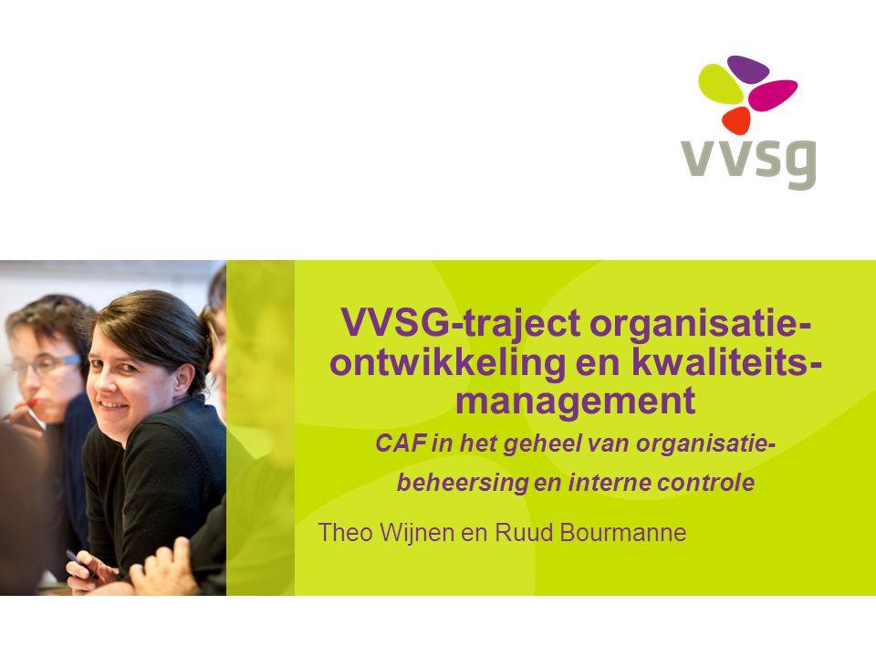 VVSG - VVSG-traject Organisatieontwikkeling & kwaliteitsmanagement Korte blik op de geschiedenis 1990 – 2010 Kritische analyse Nieuwe fase in het traject 2010 – 2020 Traject naar Uitmuntendheid en de plaats van CAF hierin Werken met het CAF model in de praktijk – CAF Terugkomdag2 -27-7-2014