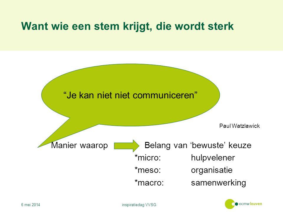 Want wie een stem krijgt, die wordt sterk 6 mei 2014inspiratiedag VVSG Je kan niet niet communiceren Paul Watzlawick Manier waarop Belang van 'bewuste' keuze *micro:hulpvelener *meso:organisatie *macro:samenwerking