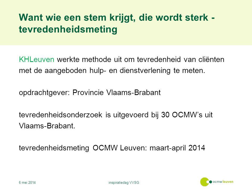 Want wie een stem krijgt, die wordt sterk - tevredenheidsmeting 6 mei 2014inspiratiedag VVSG KHLeuven werkte methode uit om tevredenheid van cliënten met de aangeboden hulp- en dienstverlening te meten.