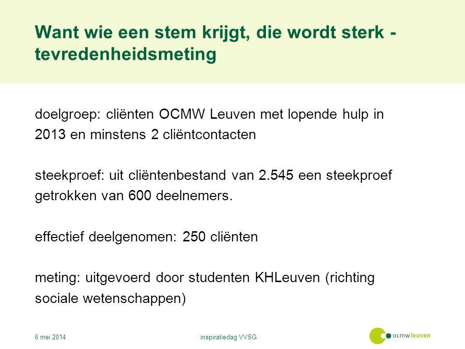 Want wie een stem krijgt, die wordt sterk - tevredenheidsmeting 6 mei 2014inspiratiedag VVSG doelgroep: cliënten OCMW Leuven met lopende hulp in 2013 en minstens 2 cliëntcontacten steekproef: uit cliëntenbestand van 2.545 een steekproef getrokken van 600 deelnemers.
