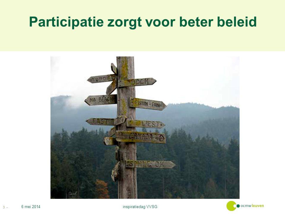 Participatie zorgt voor beter beleid 6 mei 2014 3 - inspiratiedag VVSG
