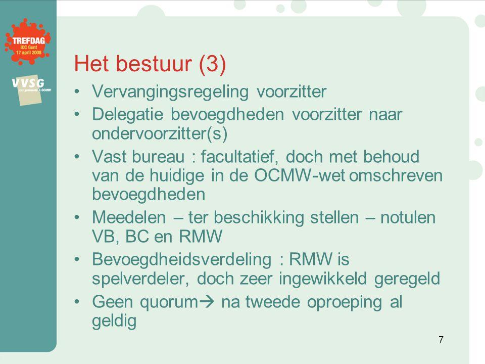 Bestuurlijk toezicht en externe audit (2) Externe audit : –Interne auditcommissie valt weg, OCMW's kunnen wel interne audit organiseren als ze dit willen –Externe auditcommissie met ambtenaren Vlaams gewest –OCMW's betalen mee .