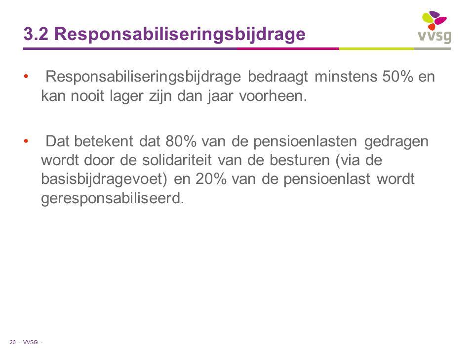 VVSG - 3.2 Responsabiliseringsbijdrage Responsabiliseringsbijdrage bedraagt minstens 50% en kan nooit lager zijn dan jaar voorheen. Dat betekent dat 8