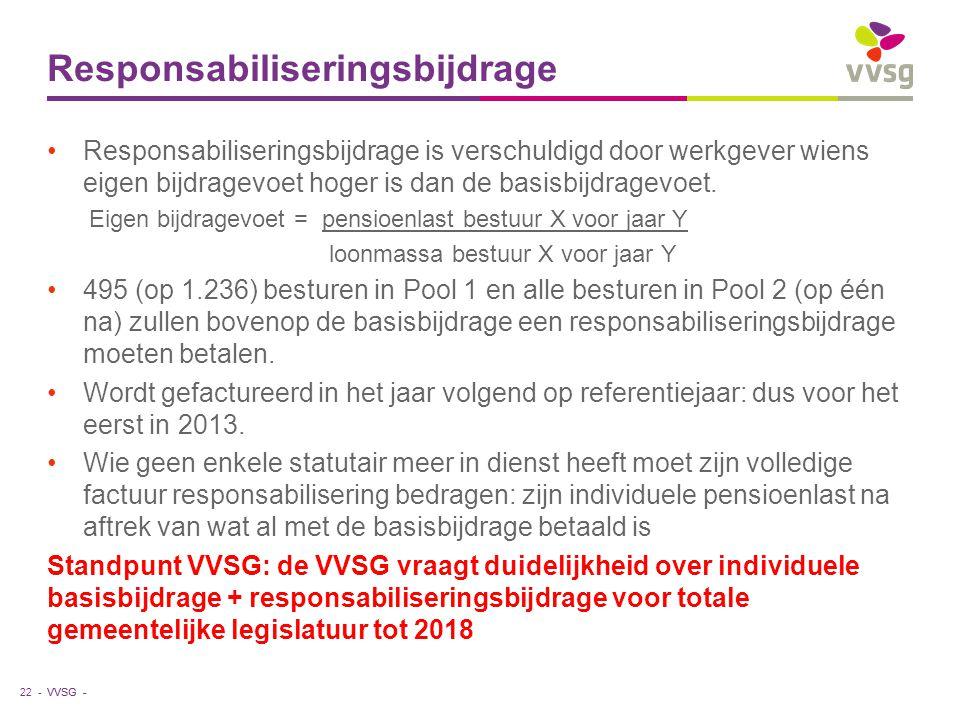 VVSG - Responsabiliseringsbijdrage Responsabiliseringsbijdrage is verschuldigd door werkgever wiens eigen bijdragevoet hoger is dan de basisbijdragevo