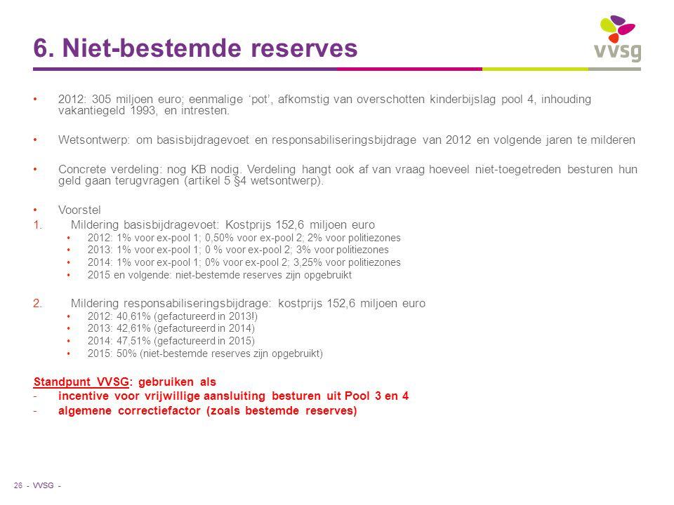 VVSG - 6. Niet-bestemde reserves 2012: 305 miljoen euro; eenmalige 'pot', afkomstig van overschotten kinderbijslag pool 4, inhouding vakantiegeld 1993