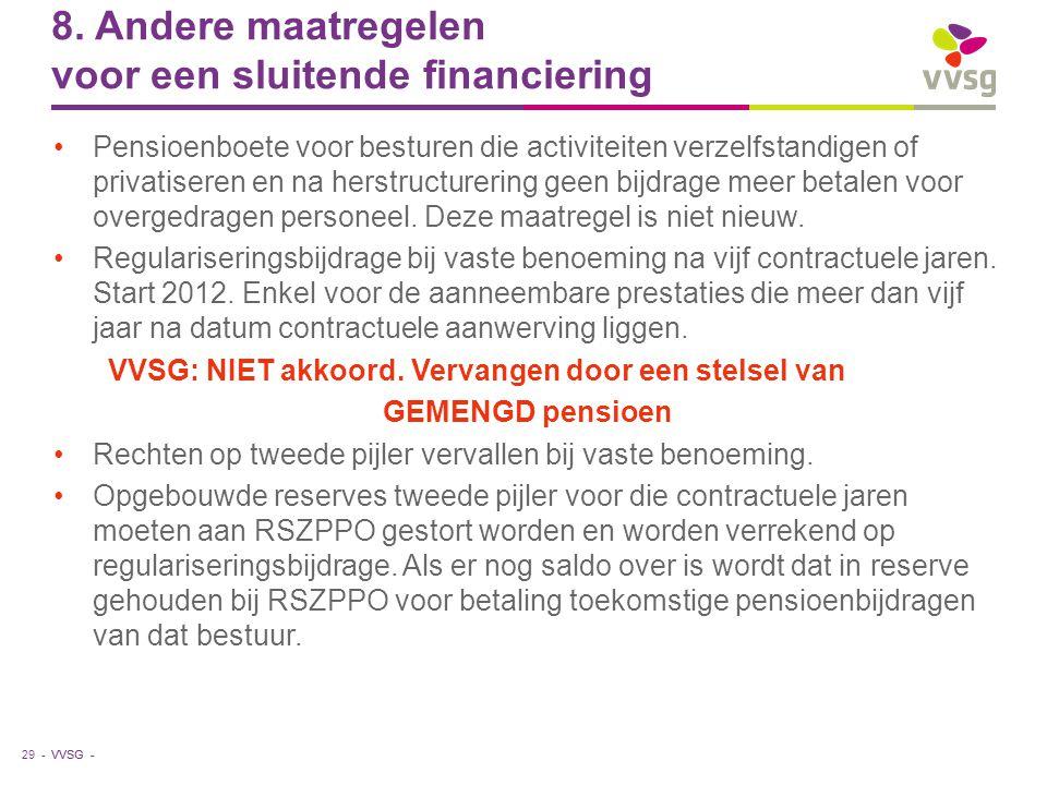 VVSG - 8. Andere maatregelen voor een sluitende financiering Pensioenboete voor besturen die activiteiten verzelfstandigen of privatiseren en na herst