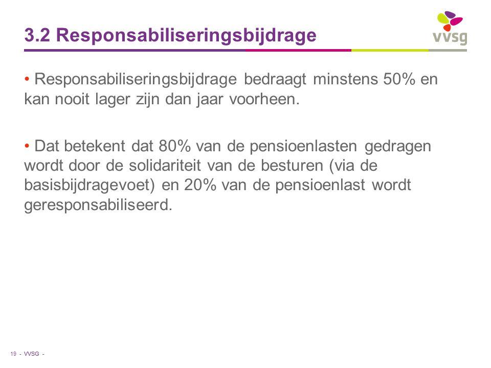 VVSG - 3.2 Responsabiliseringsbijdrage Responsabiliseringsbijdrage bedraagt minstens 50% en kan nooit lager zijn dan jaar voorheen.