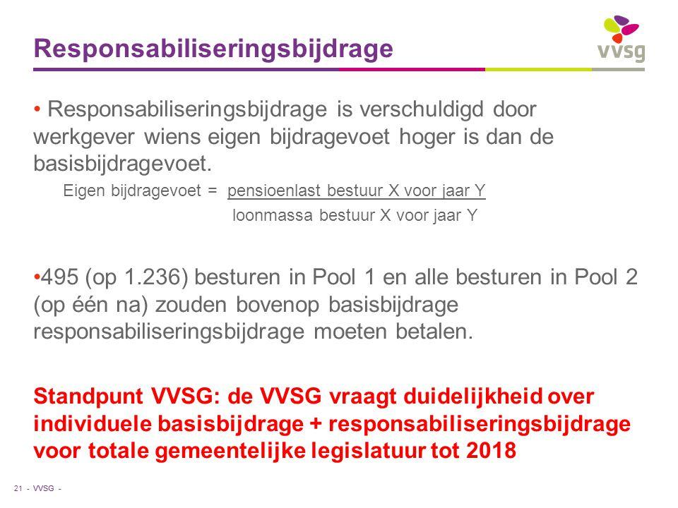 VVSG - Responsabiliseringsbijdrage Responsabiliseringsbijdrage is verschuldigd door werkgever wiens eigen bijdragevoet hoger is dan de basisbijdragevoet.