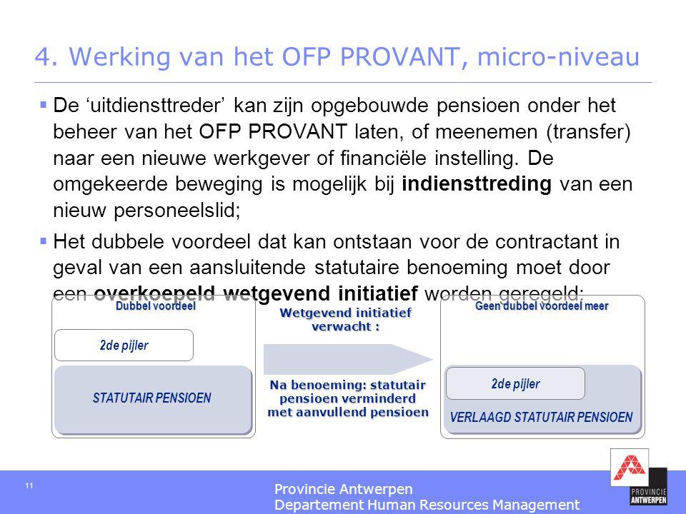 Provincie Antwerpen Departement Human Resources Management 11 4. Werking van het OFP PROVANT, micro-niveau  De 'uitdiensttreder' kan zijn opgebouwde