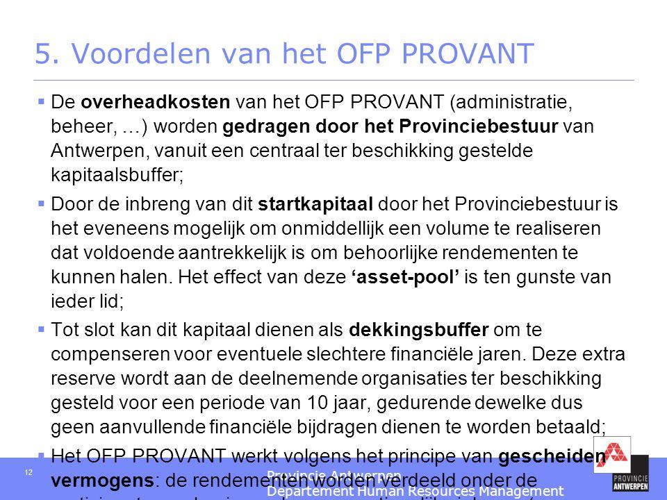 Provincie Antwerpen Departement Human Resources Management 12 5. Voordelen van het OFP PROVANT  De overheadkosten van het OFP PROVANT (administratie,