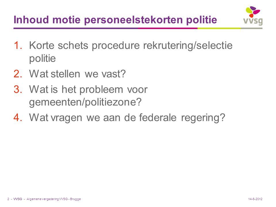VVSG - Inhoud motie personeelstekorten politie 1.Korte schets procedure rekrutering/selectie politie 2.Wat stellen we vast.