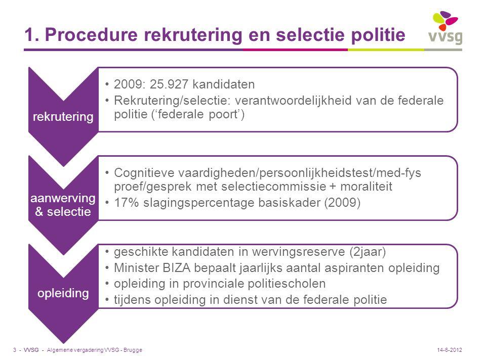 VVSG - 1. Procedure rekrutering en selectie politie rekrutering 2009: 25.927 kandidaten Rekrutering/selectie: verantwoordelijkheid van de federale pol