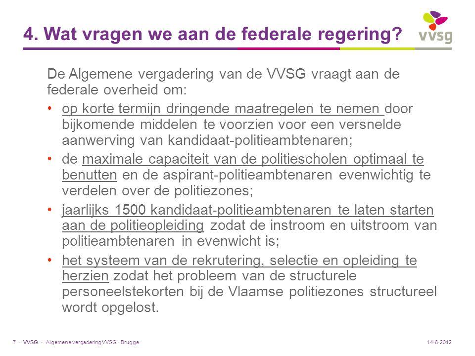 VVSG - 4. Wat vragen we aan de federale regering? De Algemene vergadering van de VVSG vraagt aan de federale overheid om: op korte termijn dringende m