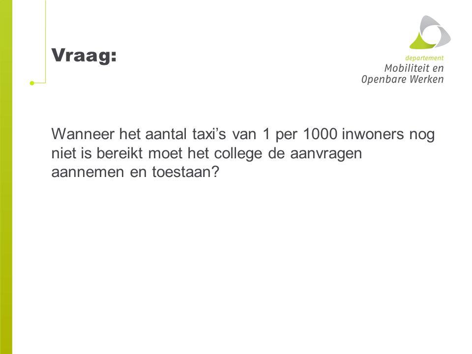 Wanneer het aantal taxi's van 1 per 1000 inwoners nog niet is bereikt moet het college de aanvragen aannemen en toestaan? Vraag: