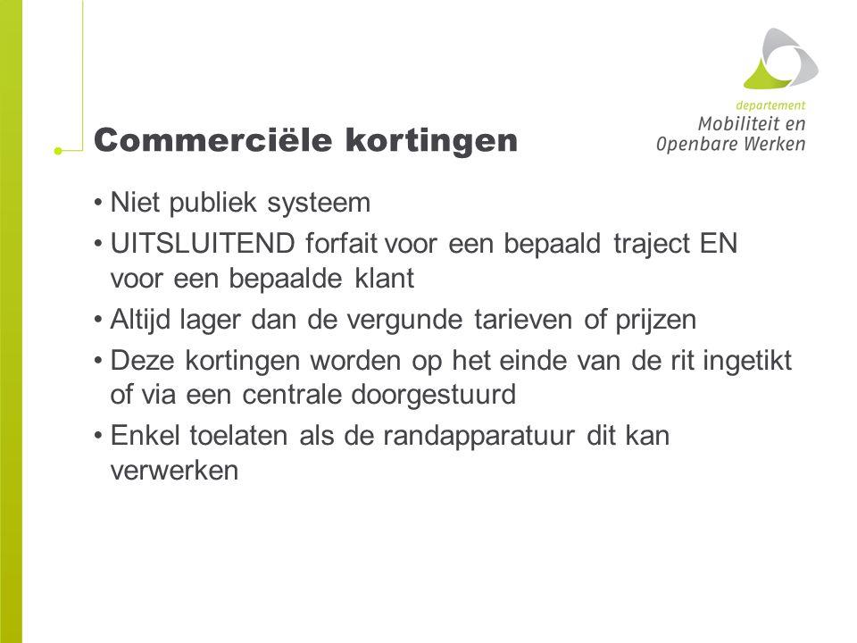 Commerciële kortingen Niet publiek systeem UITSLUITEND forfait voor een bepaald traject EN voor een bepaalde klant Altijd lager dan de vergunde tariev