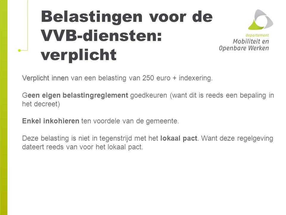 Belastingen voor de VVB-diensten: verplicht Verplicht innen Verplicht innen van een belasting van 250 euro + indexering. Geen eigen belastingreglement