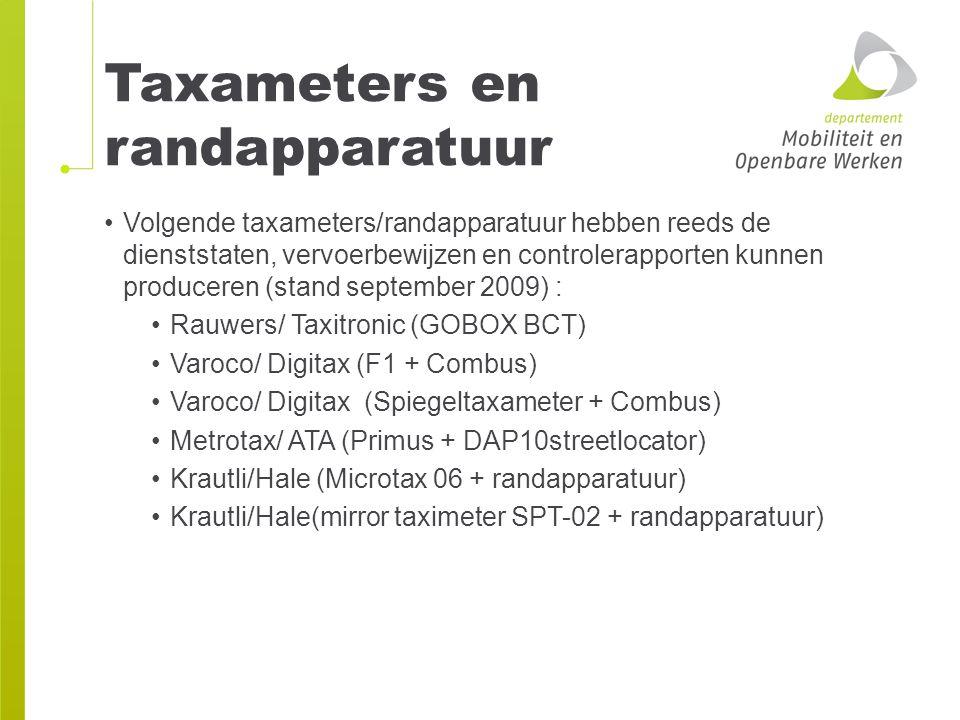 Taxameters en randapparatuur Volgende taxameters/randapparatuur hebben reeds de dienststaten, vervoerbewijzen en controlerapporten kunnen produceren (