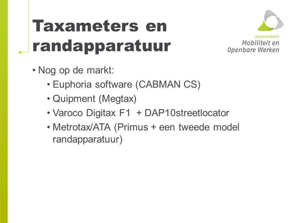 Taxameters en randapparatuur Nog op de markt: Euphoria software (CABMAN CS) Quipment (Megtax) Varoco Digitax F1 + DAP10streetlocator Metrotax/ATA (Pri