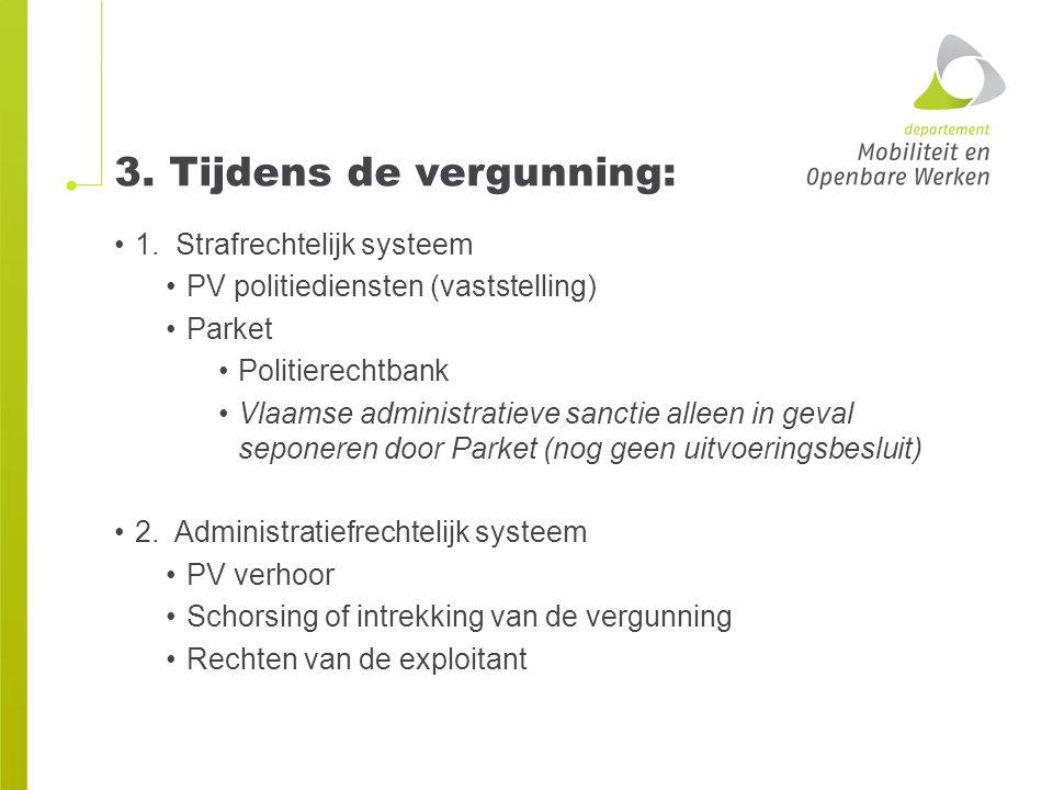 3. Tijdens de vergunning: 1. Strafrechtelijk systeem PV politiediensten (vaststelling) Parket Politierechtbank Vlaamse administratieve sanctie alleen