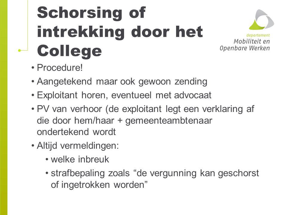 Schorsing of intrekking door het College Procedure! Aangetekend maar ook gewoon zending Exploitant horen, eventueel met advocaat PV van verhoor (de ex