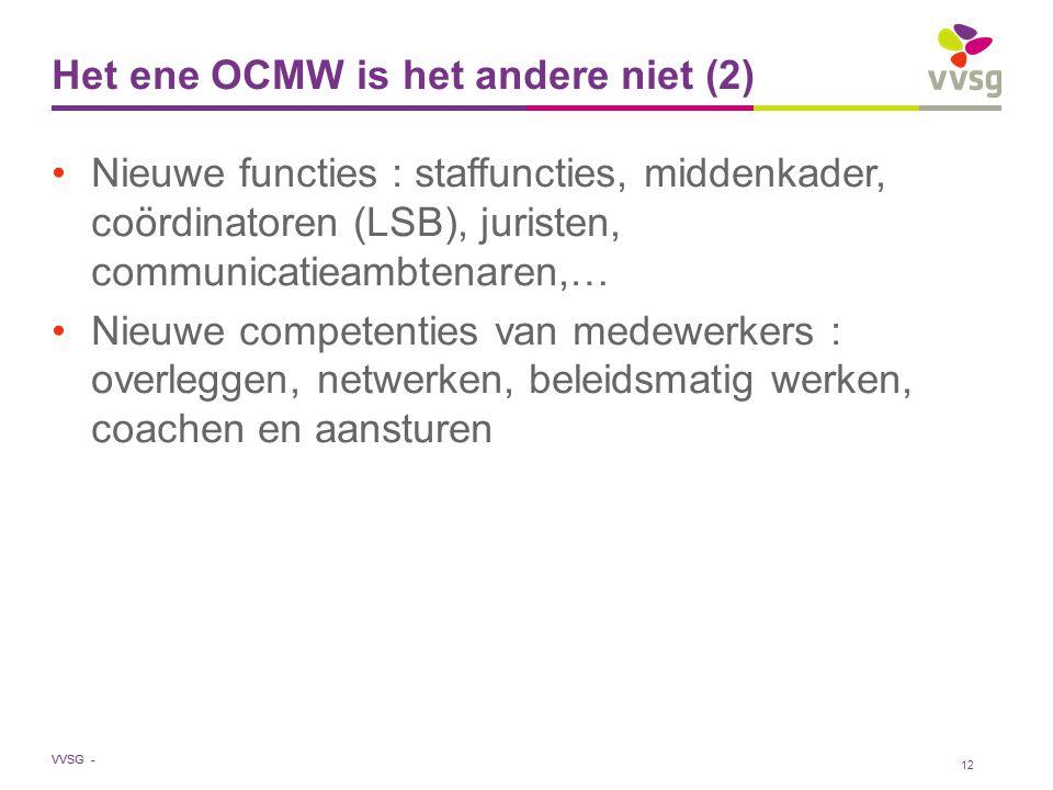 VVSG - Het ene OCMW is het andere niet (2) Nieuwe functies : staffuncties, middenkader, coördinatoren (LSB), juristen, communicatieambtenaren,… Nieuwe competenties van medewerkers : overleggen, netwerken, beleidsmatig werken, coachen en aansturen 12