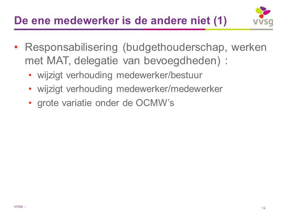VVSG - De ene medewerker is de andere niet (1) Responsabilisering (budgethouderschap, werken met MAT, delegatie van bevoegdheden) : wijzigt verhouding medewerker/bestuur wijzigt verhouding medewerker/medewerker grote variatie onder de OCMW's 14