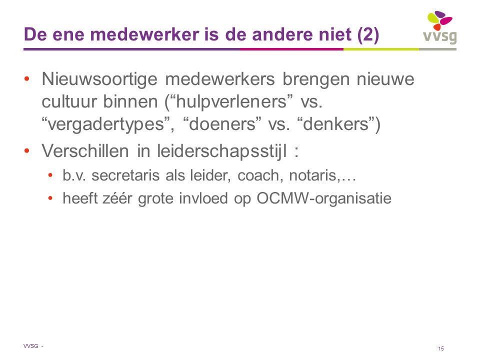 VVSG - De ene medewerker is de andere niet (2) Nieuwsoortige medewerkers brengen nieuwe cultuur binnen ( hulpverleners vs.