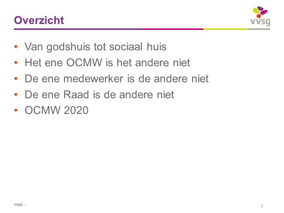 VVSG - Verstandig omgaan met de gemeente Lokaal sociaal beleid is onderdeel van globaal gemeentelijk beleid Aandacht opeisen voor sociale klemtonen in gemeentelijke beleidsdomeinen Schaalvoordelen benutten (ondersteunende diensten) Lokale sociale dienstverlening naar de burger bundelen in één hand : OCMW Sociaal huis breed zien (netwerk) Pas aan bij: Invoegen / Koptekst en Voettekst24 -27-7-2014