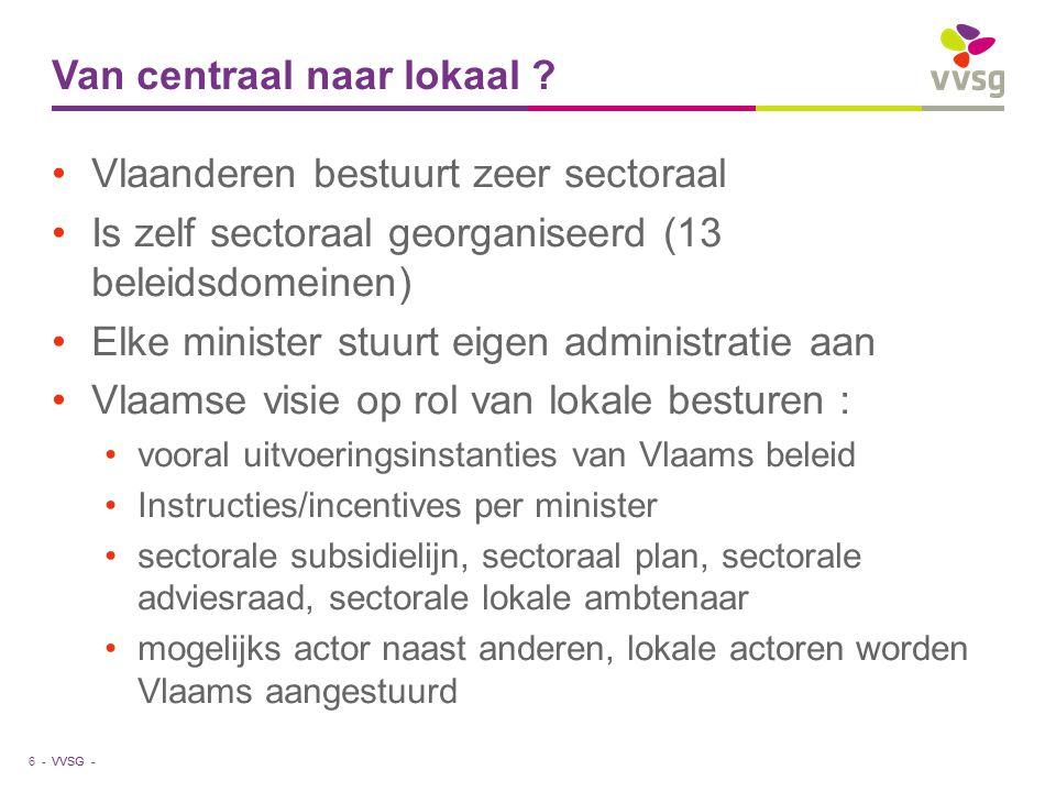 VVSG - Van centraal naar lokaal .