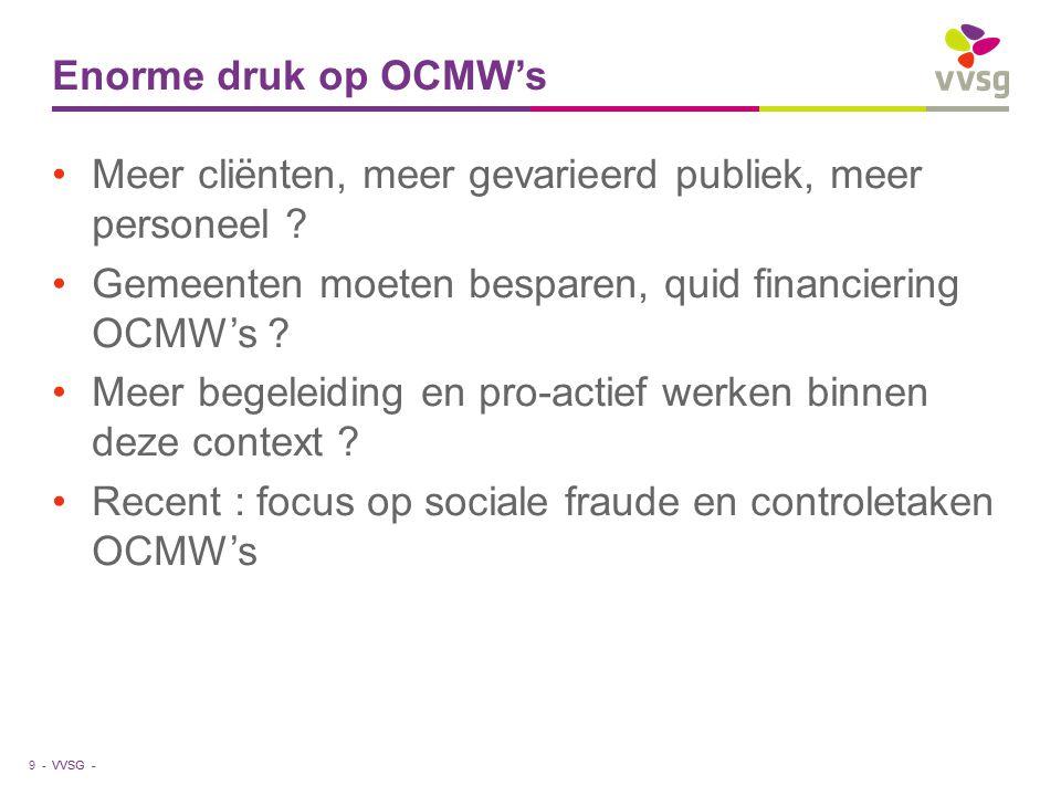 VVSG - Enorme druk op OCMW's Meer cliënten, meer gevarieerd publiek, meer personeel .