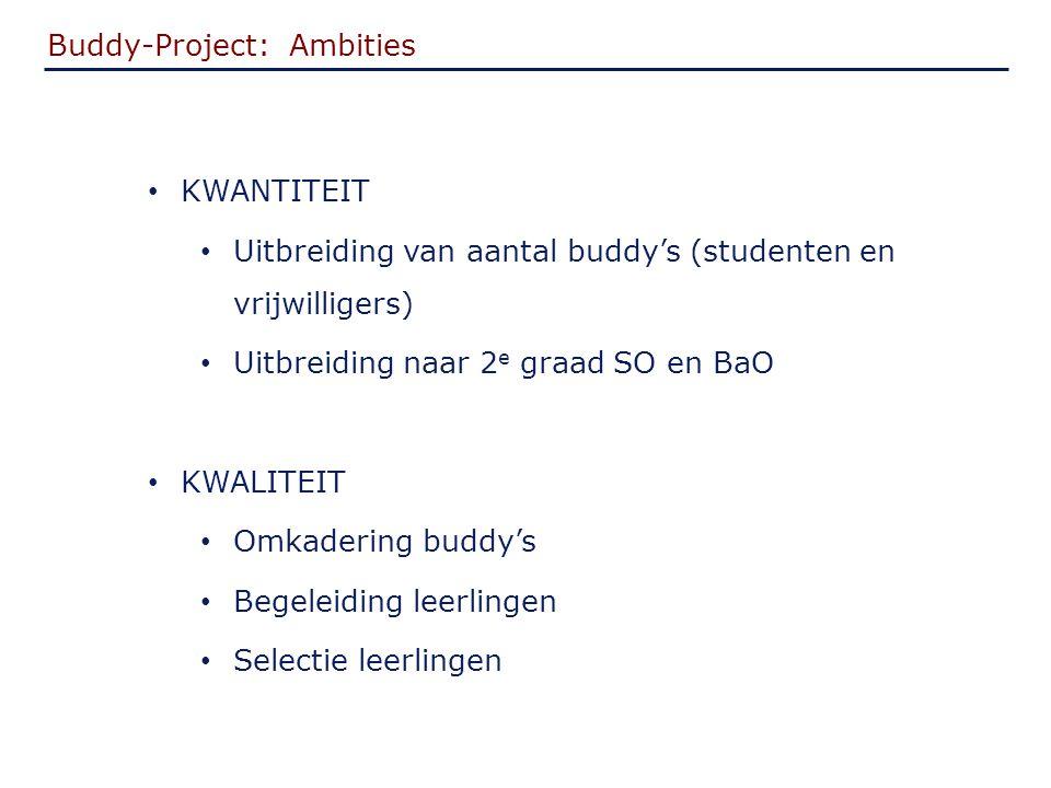 Buddy-Project: Ambities KWANTITEIT Uitbreiding van aantal buddy's (studenten en vrijwilligers) Uitbreiding naar 2 e graad SO en BaO KWALITEIT Omkadering buddy's Begeleiding leerlingen Selectie leerlingen