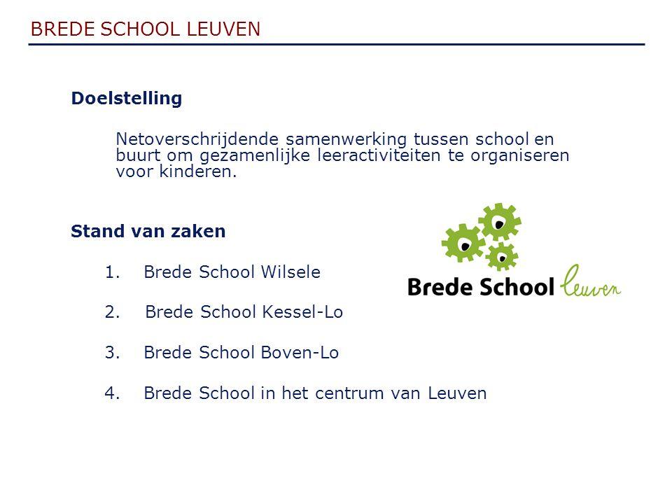 BREDE SCHOOL LEUVEN Doelstelling Netoverschrijdende samenwerking tussen school en buurt om gezamenlijke leeractiviteiten te organiseren voor kinderen.
