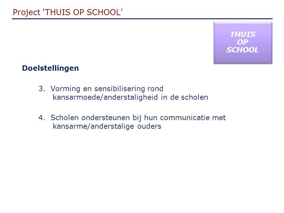 Project 'THUIS OP SCHOOL' THUIS OP SCHOOL THUIS OP SCHOOL Doelstellingen 3.
