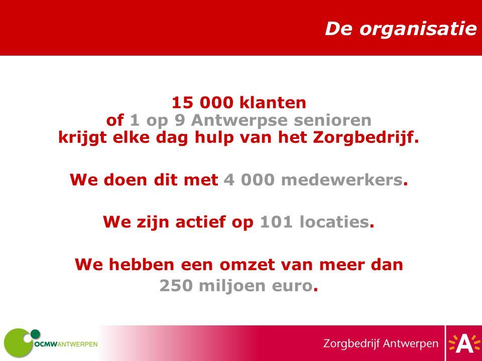 De organisatie 15 000 klanten of 1 op 9 Antwerpse senioren krijgt elke dag hulp van het Zorgbedrijf.