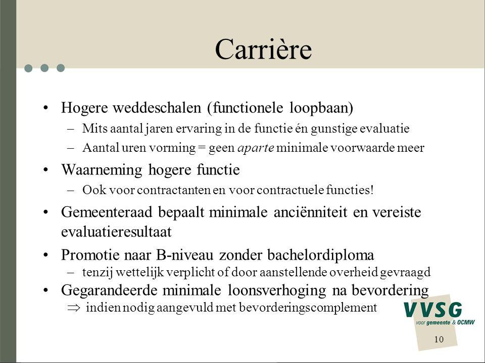 Carrière Hogere weddeschalen (functionele loopbaan) –Mits aantal jaren ervaring in de functie én gunstige evaluatie –Aantal uren vorming = geen aparte