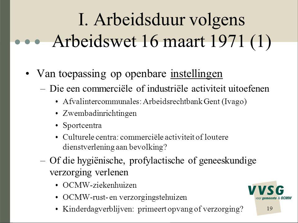I. Arbeidsduur volgens Arbeidswet 16 maart 1971 (1) Van toepassing op openbare instellingen –Die een commerciële of industriële activiteit uitoefenen