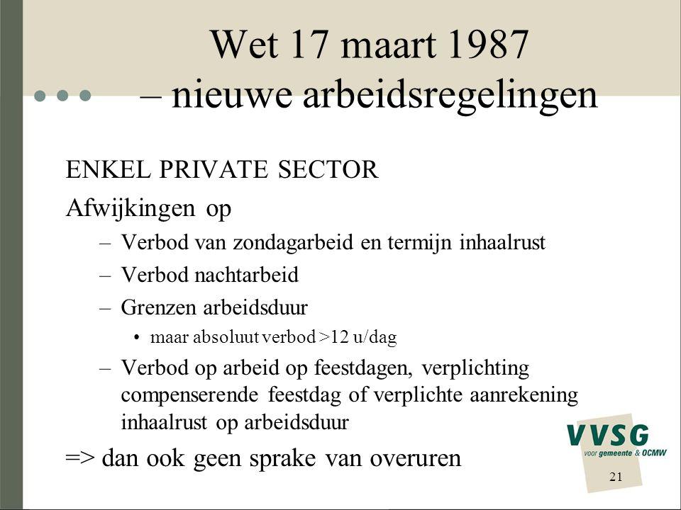 Wet 17 maart 1987 – nieuwe arbeidsregelingen ENKEL PRIVATE SECTOR Afwijkingen op –Verbod van zondagarbeid en termijn inhaalrust –Verbod nachtarbeid –G