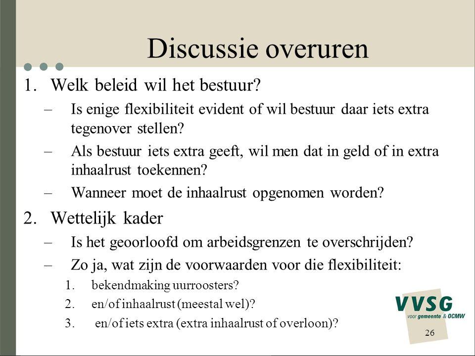 Discussie overuren 1.Welk beleid wil het bestuur? –Is enige flexibiliteit evident of wil bestuur daar iets extra tegenover stellen? –Als bestuur iets