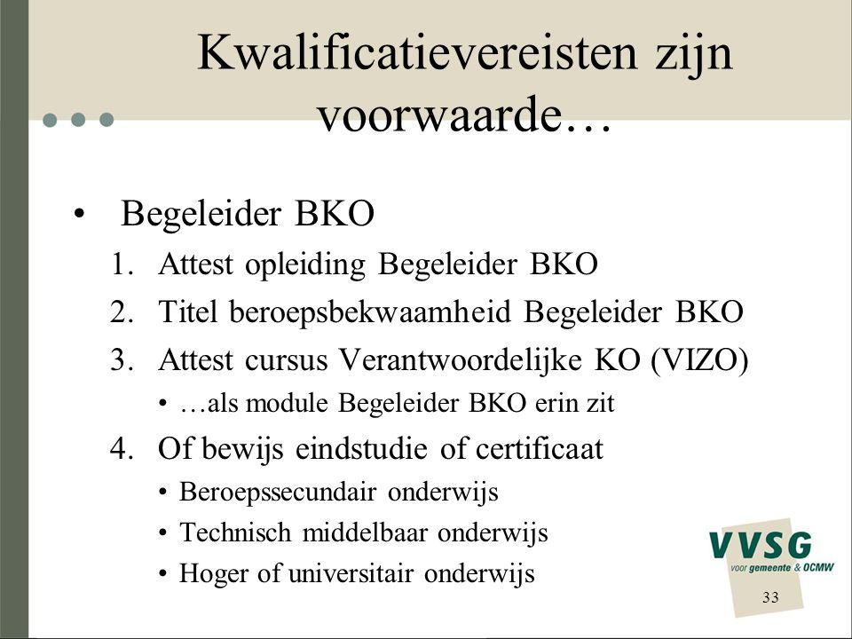 Kwalificatievereisten zijn voorwaarde… Begeleider BKO 1.Attest opleiding Begeleider BKO 2.Titel beroepsbekwaamheid Begeleider BKO 3.Attest cursus Vera