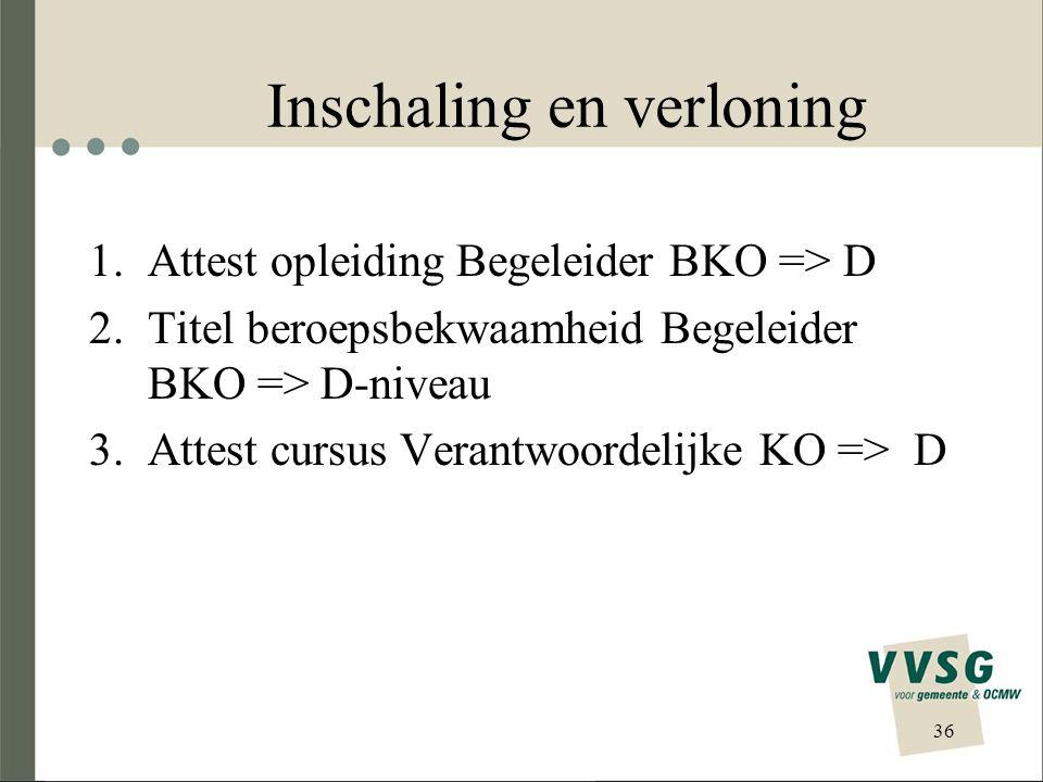 Inschaling en verloning 36 1.Attest opleiding Begeleider BKO => D 2.Titel beroepsbekwaamheid Begeleider BKO => D-niveau 3.Attest cursus Verantwoordeli
