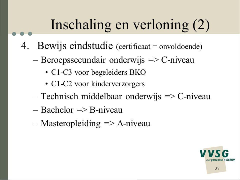 Inschaling en verloning (2) 4. Bewijs eindstudie (certificaat = onvoldoende) –Beroepssecundair onderwijs => C-niveau C1-C3 voor begeleiders BKO C1-C2