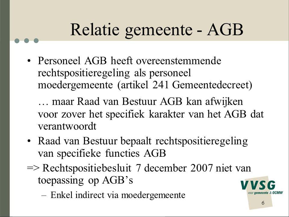 Relatie gemeente - AGB Personeel AGB heeft overeenstemmende rechtspositieregeling als personeel moedergemeente (artikel 241 Gemeentedecreet) … maar Ra