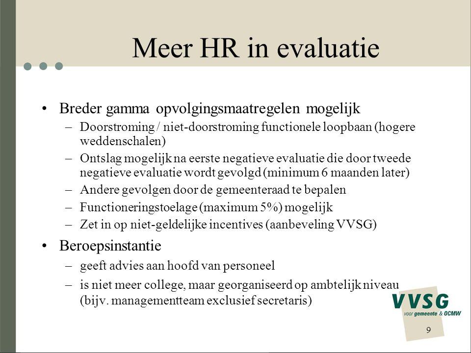 Meer HR in evaluatie Breder gamma opvolgingsmaatregelen mogelijk –Doorstroming / niet-doorstroming functionele loopbaan (hogere weddenschalen) –Ontsla